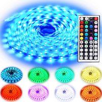 kits de luz de tira de rgb led al por mayor-Led Strip Lights Kit 10M 32.8 Ft 5050 RGB 300 LEDs Cambio de color flexible con 44 teclas Control remoto IR Fuente de alimentación