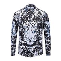 kaplan 3d boyama toptan satış-Gerçek Reveler uzun kollu erkek gömlek Soyut resim kroki klasik retro bluz 3D kaplan hip hop adam moda gömlek tops