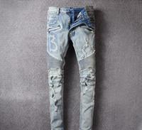 ingrosso abbigliamento di lusso-mens 19ss jeans di lusso designer di abbigliamento di moda i pantaloni Mens lavato cerotto collage attillati jeans del foro elastici dei pantaloni di lusso