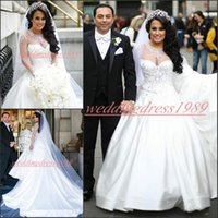Wholesale white satin gowns for weddings resale online - Beautiful African Long Sleeve Satin Crystal Wedding Dresses Beads Arabic vestido de noiva Illusion Train Bride Ball For Women Wedding Gowns