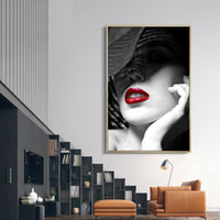 lienzo de arte rojo al por mayor-Negro Blanco Moda Chica Lienzo Pintura Labios rojos Nordic Wall Print Poster Art Home Decor Artwork for Living Room