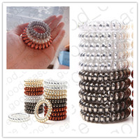 Wholesale dhl telephone resale online - DHL Metal Punk Telephone Wire Cord Hair Bands Coil Elastic Rubber Circle Bands Scrunchies Hair Ties Pony Tail Holder Accessories D31001