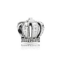 encantos de coroa de prata esterlina 925 venda por atacado-Marca acessórios de jóias Crown Europeu Beads Encantos caixa Original para Pandora 925 Sterling Silver Encantos Pulseira Fazer Jóias