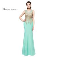 abendkleider minze meerjungfrau großhandel-Mint Mermaid Prom Kleider 2019 Jersey Lace Formal Wear bodenlangen ärmellose Abend Party Kleider LX412