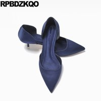 ingrosso pompe di sera-Satin Women Silk Scarpin Summer Evening Décolleté Blu Navy Taglia 4 34 Calzature Chic Classic D'orsay Medium Sexy Scarpe a punta