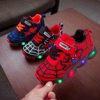spiderman schuhe großhandel-Spiderman Kids Jungen Sport Turnschuhe Kinder Glowing Kinder Schuh Chaussure Enfant Mädchen Schuh Mit LED-Licht
