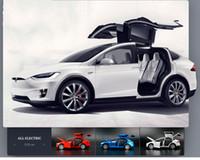 carros com diecast venda por atacado-1:32 Liga Modelo de Carro Modelo de Tesla X90 de Metal Diecast Veículos de Brinquedo Do Carro Com Puxar Para Trás Piscando Presente Musical Para Carro de Corrida das Crianças J190525