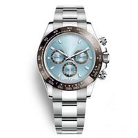 часы из нержавеющей стали оптовых-Роскошные часы мужчины 40 мм автоматические часы механические Корона часы из нержавеющей стали синий циферблат наручные часы дата керамический безель часы