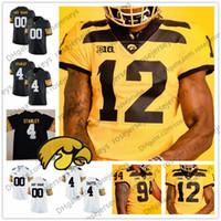 camisa de futebol preto amarelo venda por atacado-Personalizado Iowa Hawkeyes 2019 Novo Futebol De Ouro 12 Brandon Smith Branco Preto Amarelo Epenesa Stanley Fant Stanzi Homens Juventude Criança Jersey 4XL