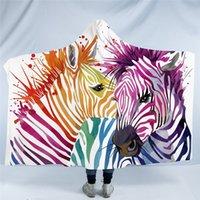 lã de zebra venda por atacado-Coleção Animal Aquarela Cobertor Com Capuz Panda Bonito Sherpa Fleece Cobertor Wearable Zebra Aves Throw