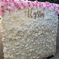 ingrosso fiori decorativi interni-2019 nuovo arrivo 13 colori di seta rosa fiore artificiale pannello murale sfondo di Natale partito decorazione decorativa fiore interno freeshipping