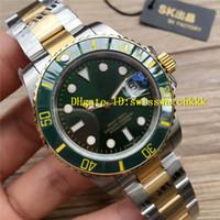 зеленая рамка автоматическая оптовых-SK Luxury Мужские часы 116613LN 116613LB Зеленый циферблат из нержавеющей стали желтое золото 8215 Автоматическая керамическая рамка сапфир Лучшие наручные часы