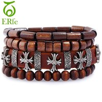 ingrosso legno buddista-ER Vintage Wood Beaded Cross Bracciale Donna Crocifisso in pelle Braclet Uomo Bracciale buddista tibetano Buddismo gioielli LB093