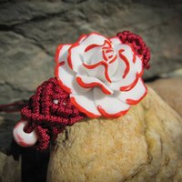 flores rosas de ceramica al por mayor-Cerámica Rojo Y Blanco Flor Pulsera Joyería Artesanal Armadura Cuerda Ajustable Viento Nacional Retro Rosas Flores Femeninas Regalo DHL al por mayor
