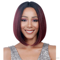 Wholesale wine red short hair for sale - Group buy Wigs in Europe and America women s bobo hair type chemical fiber dyed black gradient wine red short hair set