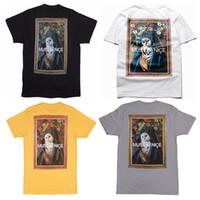 erkek t gömlek kaburga toptan satış-Güzel Kedi Olmalı Meryem Baskı T-shirt Oluklu Ekip Boyun Yaka Cep Pamuk Gevşek Erkekler T-Shirt HipHop 4 Renkler Tees Unisex
