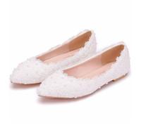 dantel ayakkabıları inci toptan satış-Büyük boy kadın beyaz dantel düz ayakkabılar düğün gelin ayakkabıları gösterisi pembe dantel inciler ayakkabı hamile kadın flatforms gelinler için rahat ayakkabılar