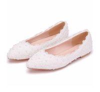 ingrosso scarpe da sposa sposa bianche piatte-Scarpe da sposa bianche di grandi dimensioni, scarpe basse da sposa, scarpe da sposa in pizzo rosa, scarpe da donna incinta, scarpe casual flatforms per le spose