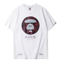 красная пара майка оптовых-Модная мужская футболка AAPE Дизайнерская новая хлопковая футболка с круглым вырезом с коротким рукавом Пара Модная печать с коротким рукавом Черный Белый Красный