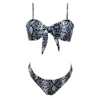 Wholesale sexy womens high cut swimsuits online – Womens Sexy Two Piece Bikini Set Push Up Tie Front Spaghetti Straps Swimsuit Boho Snakeskin Printing High Cut Bathing Suit