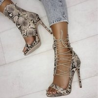 Wholesale wedges snake for sale - Group buy 2018 New Summer Fashion Snake Skin Cross Tied Lace up Sandals Women High Heels Lady Pumps Sandals Shoes Women Black Shoes