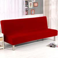 ingrosso mobili da soggiorno-Fodera pieghevole per divano letto coprimaterasso in tessuto tinta unita, coprisedili senza braccioli