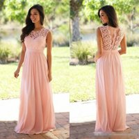 Wholesale drape bridesmaid gowns for sale - Group buy Elegant Lace Coral Bridesmaid Dresses Jewel Sleeveless Wedding Guest Dress Zipper Chiffon Cheap bridesmaids dress Formal Maid of Honor Gown