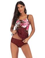 Wholesale screening print for sale - Group buy 2020 girl sports big Fat plus swimwear slim fit skirt split gradient split screen print angle yakuda swimsuit flexible stylish Bikinis sets