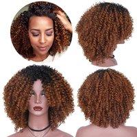 peluca afro marrón mujer al por mayor-Pelucas sintéticas largas del pelo rizado afro afro rizado de Ombre para la fibra de alta temperatura de las mujeres negras
