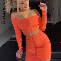 ingrosso lunga gonna arancione-Abiti fashion criptografici Arancione brillante Set di bottoni da donna Maniche lunghe Crop Top Sexy Due pezzi Set Casual Bodycon Gonne Y19051501