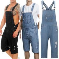 tischler-shorts großhandel-Männer Distressed Denim Carpenter Overall Latzhose Moto Biker Jeans Shorts