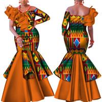 vestido africano bazin venda por atacado-Danshiki África Vestido para As Mulheres Bazin Riche one-ombro Sexy Barra Pescoço Vestido de Festa de Casamento Tradicional Africano Roupas WY4224