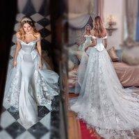 robes de mariée de luxe les plus récentes achat en gros de-2019 nouvelle robe de mariée de sirène scintillant de luxe de l'épaule en dentelle robe de mariée sur mesure