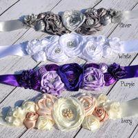 ingrosso le cinghie delle cinghie-Cintura in pizzo fiore rosa abbellimento con bottoni in strass Fiore cintura in seta Cintura in fiore