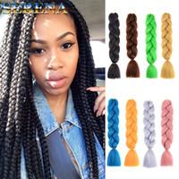 xpression haarwebart großhandel-Häkeln Sie Haarverlängerungen Dreadlocks synthetische Häkeln Sie Zöpfe 24inch 100g billig Menschenhaar-Webart Bundles