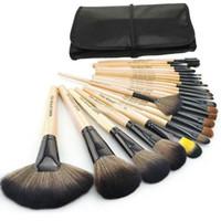 sarı makyaj fırçaları toptan satış-Makyaj Araçları 24 adet Klasik Profesyonel Makyaj Fırçalar Set, açık sarı makyaj Deri Fırçalar ile Set Fırçalar Kılıf
