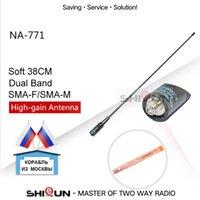 çift bantlı vhf uhf el tipi toptan satış-Handheld Radyo Baofeng -5R'yi UV-82 BF-888S H-777 için yığın Walkie Talkie NAGOYA NA-771 Çift Bant Baofeng Anten VHF / UHF SMA-Dişi SMA-Erkek ...