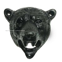 outils grizzly achat en gros de-Fonte mur 50pcs Mont Mounted Grizzly Bear Head Beer Soda Cap ouvre-bouteille ouvreurs Hanger Pub Lodge Cuisine Outils à Noir Brown