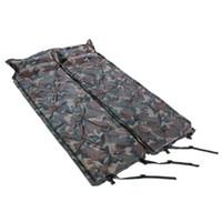 double matelas de couchage achat en gros de-Coussin gonflable de camouflage extérieur avec l'oreiller double se plient campant le matelas de sommeil de preuve de moisissure humide vert simple