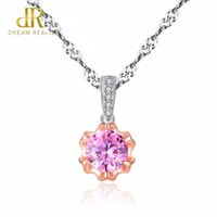цветы из розового золота оптовых-DR  Rose Gold Flower Small Pendant with Pink Zircon Stone Necklace for Women Fine Wedding Jewelry Bijouterie
