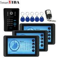 video interkom güvenlik sistemleri toptan satış-SmartYIBA 7 inç Video Kayıt / Fotoğraf Görüntülü Kapı Telefonu Kapı Zili Su Geçirmez HD RFID Kamera Ev Güvenlik İnterkom Sistemi 1V3