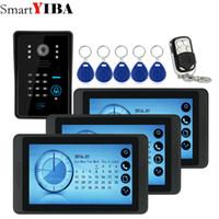 sistema de seguridad a prueba de agua hd al por mayor-SmartYIBA 7 pulgadas Grabación de video / Fotografía Video Puerta Teléfono Timbre HD impermeable Cámara RFID Sistema de intercomunicación de seguridad en el hogar 1V3