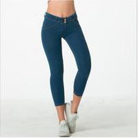 Wholesale yoga pant capri resale online - New Arrival Women Stretch Capri Pants Gym Exercise Fitness Leggings Three Quarter Slim Yoga Jeans Pants