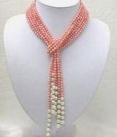 ingrosso collana di perle di corallo naturale-Collana Natural 3 Row 50 pollici 5mm Collana di perle di corallo rosa
