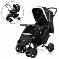 bebek arabaları puset toptan satış-İki Yönlü Katlanabilir Bebek Çocuk Seyahat Arabası Yenidoğan Bebek Puset Buggy Siyah