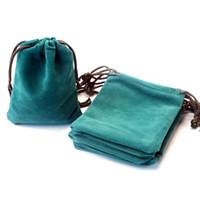 ingrosso gioielli del lago-Di alta qualità 10pcs 9x11cm Lake Blue Velvet Bags Sacchetti di cordoncini morbidi piccoli gioielli Velluto imballaggio sacchetti regalo