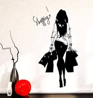 Wholesale black people clothes for sale - Group buy Fashion Young Woman Shopping Bag Clothes Shop Vinyl Wall Decal Wall Sticker Clothes Store Sexy Shopping Girl Bedroom Decor
