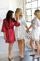 mini roupão de dormir venda por atacado-das mulheres vestido da dama de roupa interior da boneca de cetim de seda bordado V-Neck Pijamas Robes Nightgown Robes 2020 New Arrival