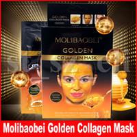 máscara de pestañas al por mayor-Molibaobei colágeno de oro máscara de colágeno de oro de desprendimiento de limpieza profunda del poro Limpiador Máscara de oro Máscara facial cuidado de la cara 10pcs / set