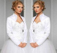 Wholesale green bolero jackets resale online - real custom made size and color wedding jacket satin long sleeves high collar bride accessories bridal bolero shrug wraps shwal